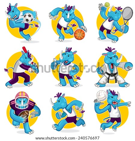 Rhino Sports Mascot Collection Set - stock vector