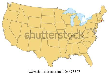 Rhode Island Locate Map - stock vector