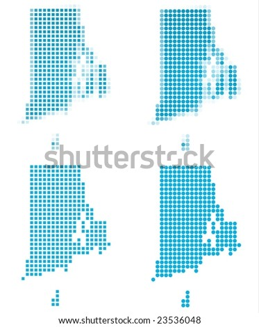 Rhode Island (USA) map mosaic set. Isolated on white background. - stock vector