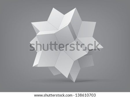 rhombic hexecontahedron for graphic design, you can change the color keeping the same form - stock vector