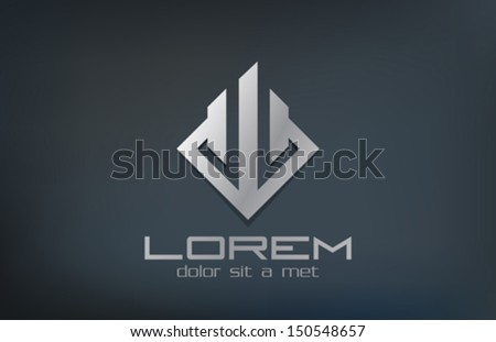 Rhombus abstract Real estate logo design template. Metal symbol icon. Corporate company emblem luxury style. - stock vector