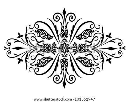 Rhombus flower ornament and swirling decorative floral and plants elements on a white background - stock vector