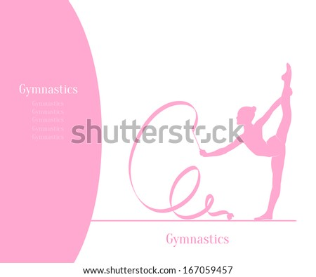 One caucasian woman exercising rhythmic gymnastics with ribbon in - Gymnastics Rhythmic Stock Photos Images Amp Pictures