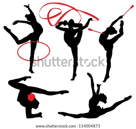 One caucasian woman exercising rhythmic gymnastics with ribbon in - Rhythmic Gymnastic Stock Photos Images Amp Pictures