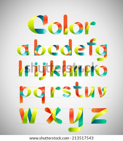 Ribbon alphabet colorful font, Lowercase a,b,c,d,e,f,g,h,i,j,k,l,m,n,o,p,q,r,s,t,u,v,w,x,y,z. Vector illustration. - stock vector