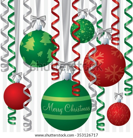Ribbon and bauble inspired Christmas card in vector format. - stock vector