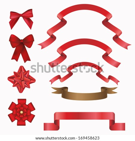 ribbon and bow on white background - stock vector
