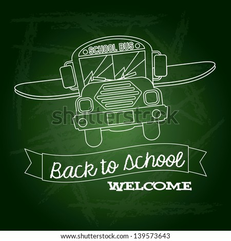 ribbon back to school welcome over green background vector illustration - stock vector