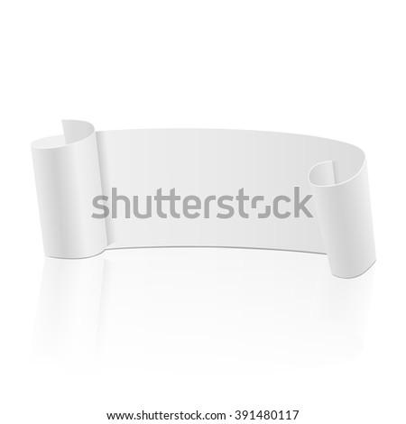 Ribbon banner. Realistic and beautiful white ribbon. Vector illustration, eps10 - stock vector
