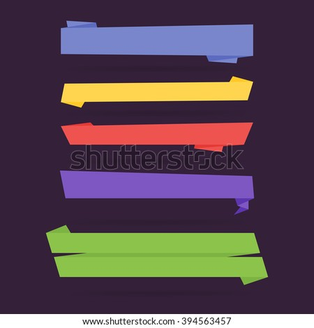 Ribbon banner, vector ribbon. Isolated vector ribbon. Colorful ribbon. Ribbon icons. Different vector ribbon, decoration symbol. Ribbon set. Modern flat isolated vector ribbon. Banner ribbon template. - stock vector