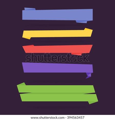 Ribbon banner, vector ribbon. Isolated vector ribbon. Colorful ribbon. Ribbon icons. Different vector ribbon, decoration symbol. Ribbon set. Modern flat isolated vector ribbon. Banner ribbon template. - stock vector