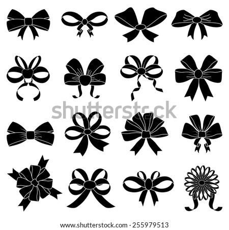 ribbon bows icons set - stock vector