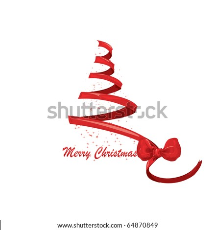 ribbon Christmas tree. vector - stock vector