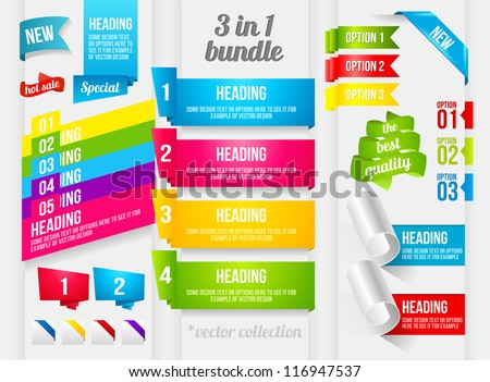 Ribbon, Corner and Banner collection - stock vector