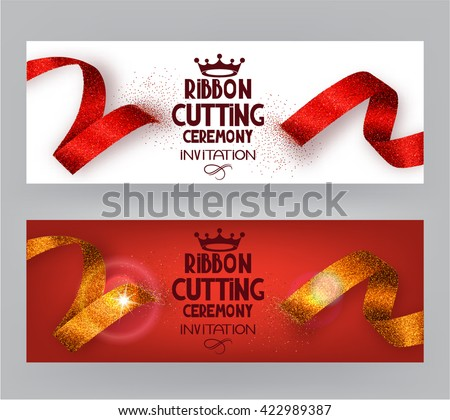 Ribbon cutting ceremony banners with abstract ribbons  and abstract hand with scissors - stock vector