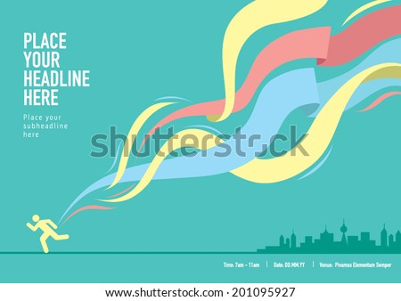 Ribbon design element with landscape/ Info graphics template design for sports event - stock vector