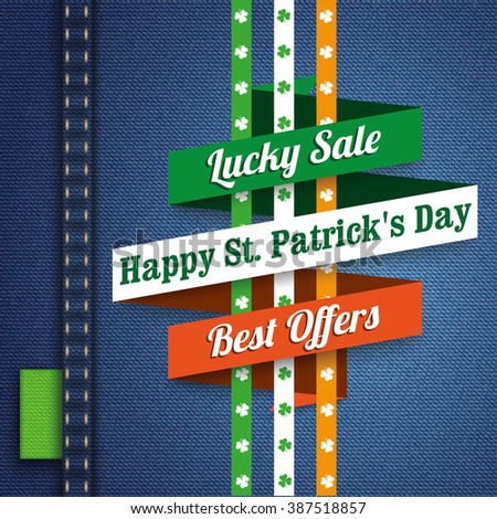 Ribbon on the jeans background for St. Patrick's Day Sale. 10 vector file. - stock vector