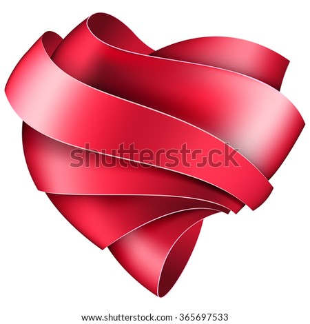 Ribbon twisted in the shape of heart - stock vector