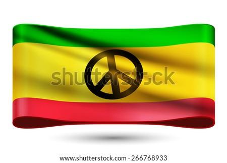 Ribbon waving flag of rasta peace. Vector illustration. - stock vector