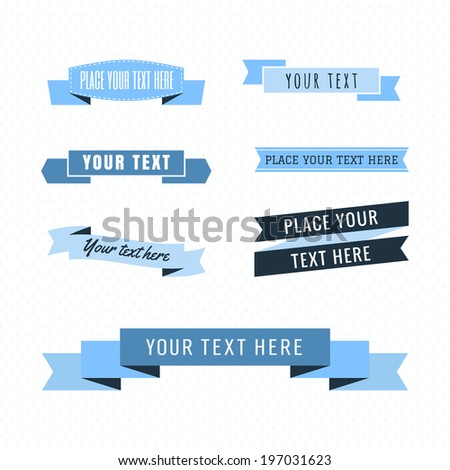 Ribbons vintage vector set in light and dark blue colors - stock vector