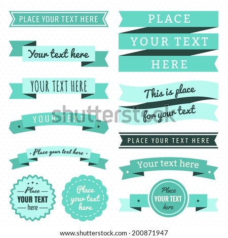 Ribbons vintage vector set in light and dark turquoise and mint green colors - stock vector