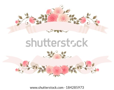 Ribbons with roses isolated on a white background. Beautiful floral vector design elements with ribbons and climbing roses.  - stock vector