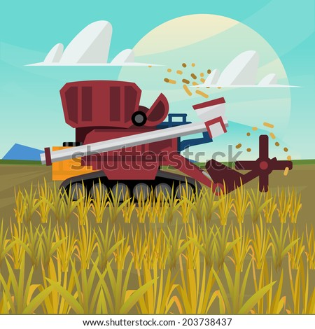Rice combine harvester. farm - vector - stock vector