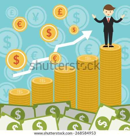 Rich and Success Businessman on Top of Gold Coins, Business Marketing Banking Finance and Money - stock vector
