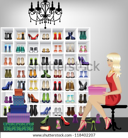 Rich beautiful fashion blonde woman trying on shoes in boutique . Fitting shoes in shop - stock vector