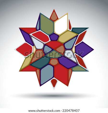 Rich 3d abstract figure constructed from triangles and geometric elements. Vector kaleidoscope complicated design object isolated on white background. - stock vector