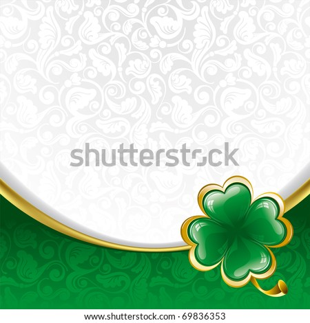Rich ornate background to St. Patrick's Day with clover - stock vector