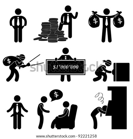 Rich Poor Success Failure Desperate Businessman Icon Symbol Sign Pictogram - stock vector