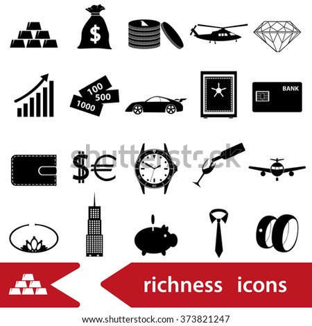 richness and money theme black icons set eps10 - stock vector