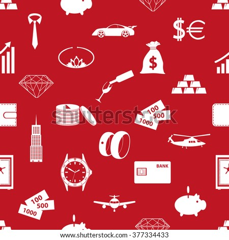 richness and money theme red seamless pattern eps10 - stock vector