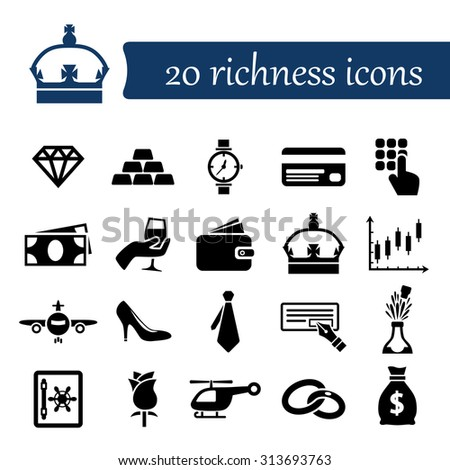 richness icons - stock vector