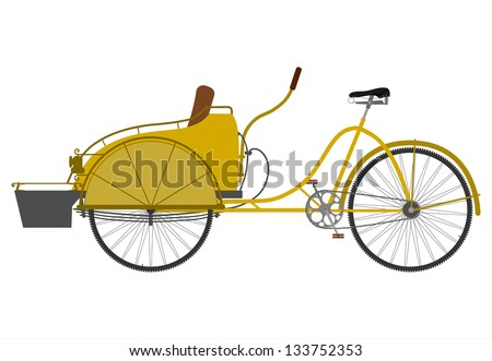 Rickshaw with seats in the front. White background. - stock vector