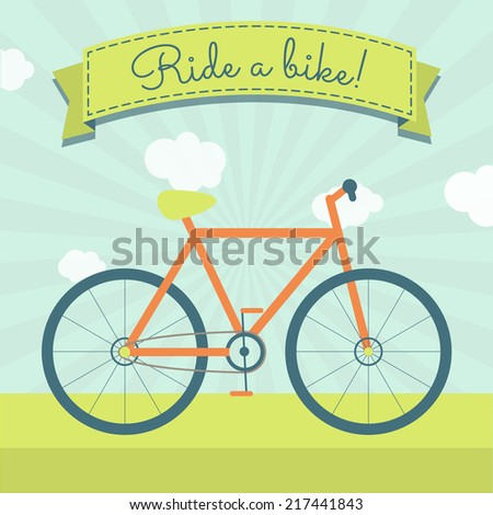 "Ride a bike. Bicycle and a ribbon with the text ""Ride a bike!"" - stock vector"