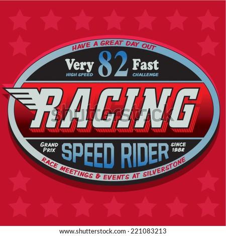 rider illustration ,racing, motorcycle ,vintage ,retro, t-shirt rider - stock vector