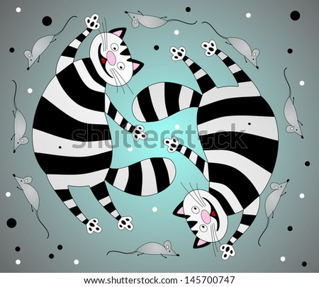 Ridiculous cats and mice - stock vector