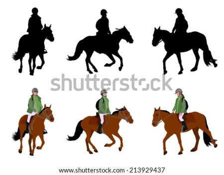 riding a horse - silhouettes and illustration - stock vector