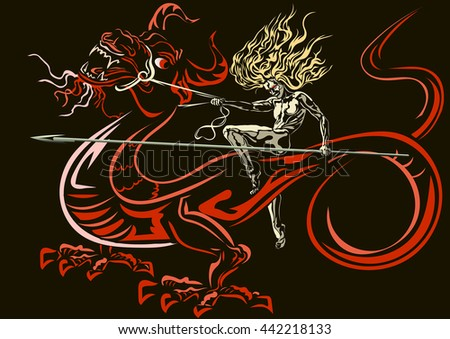 riding on a dragon warrior holding a spear, on a dark background - stock vector