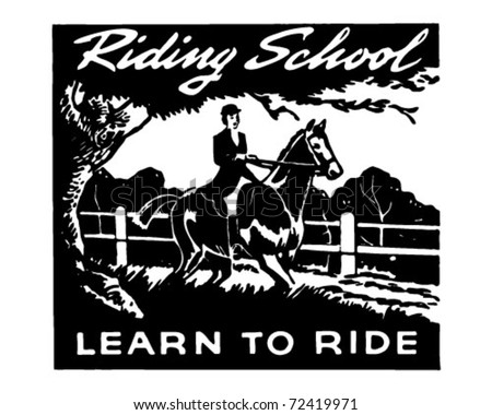 Riding School - Retro Ad Art Banner - stock vector