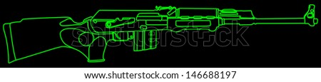 Rifle isolated on black background vector, kalashnikov rifle - stock vector