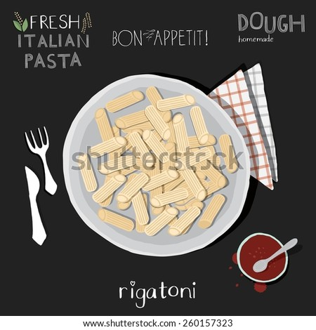 Rigatoni in plate, italian food. - stock vector