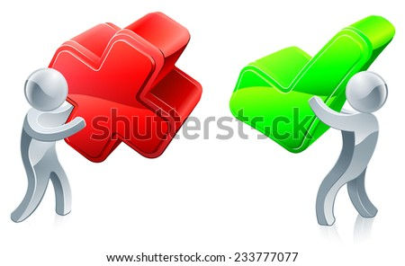 Right and wrong concept with one person holding tick for correct and one cross for incorrect - stock vector