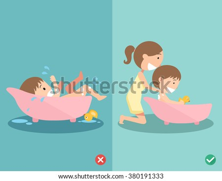 Right and wrong ways for bathing your baby safely, Never ever leave your child alone in the bath.vector illustration - stock vector