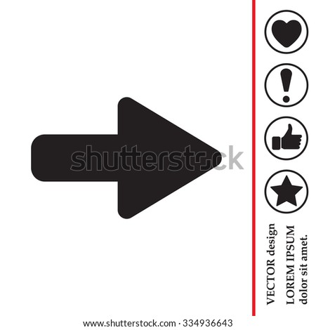 Right arrow symbol icon - stock vector