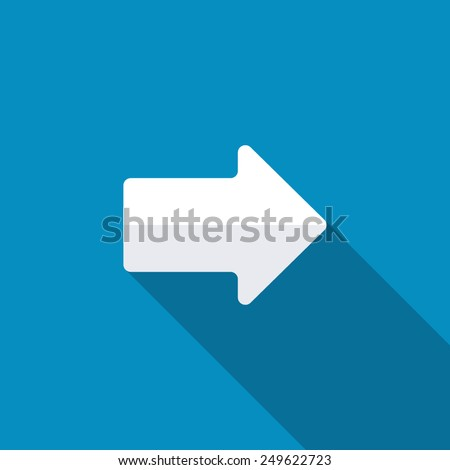 Right arrow symbol on blue background,clean vector. Long shadow - stock vector