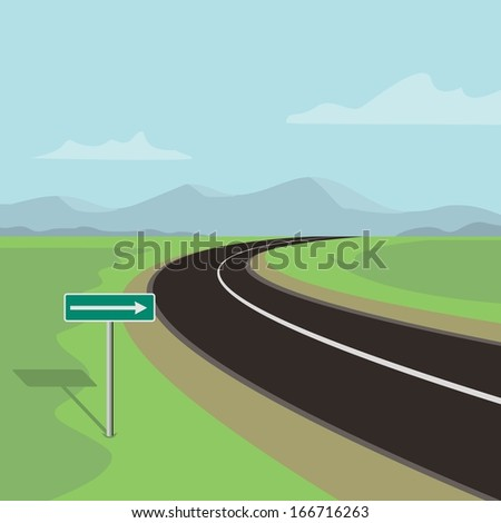 right curve road and right turn road sign, on green landscape with mountains  - stock vector