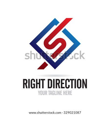 Right Direction Icon Logo template - stock vector
